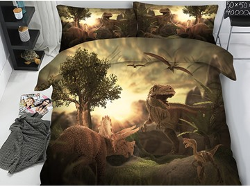 Jurassic World Theme Dinosaurs 3D Printing 5-Piece Comforter Sets