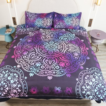3D Paisley Bohemian Style 5-Piece Comforter Set / Bedding Set Polyester Dark Purple