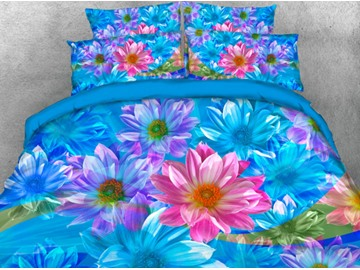 Blue and Pink Dasiy Printed 5-Piece 3D Comforter Sets