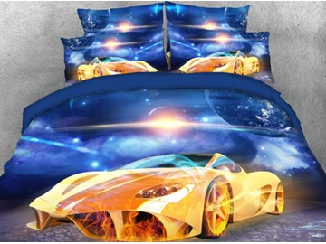 Super Sports Car under the Sky Printed 5-Piece 3D Comforter Sets
