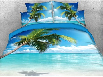 3D Summer Beach Palm Tree Sea 5-Piece Lightweight Tencel Cotton Comforter Sets Colorfast/Lightweight/Skin-friendly Zipper Bedding