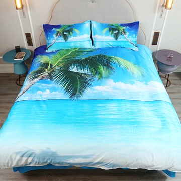 3D Summer Beach Palm Tree Sea 5-Piece Comforter Sets Colorfast Lightweight/Skin-friendly Zipper Bedding High-Quality Microfiber Polyester