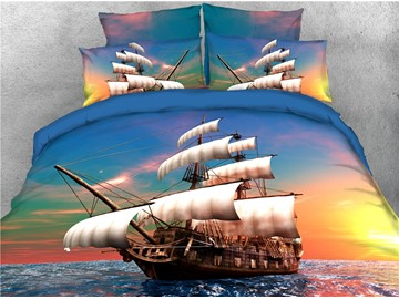Sailing Ship Maritime Theme Sunset View Printed 5-Piece 3D Bedding Set/Comforter Sets