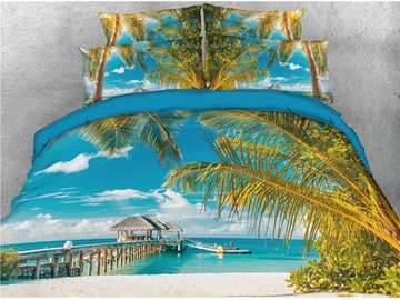 Palm Tree and Beach Blue Sea Printed 5-Piece 3D Bedding Sets/ Comforter Sets