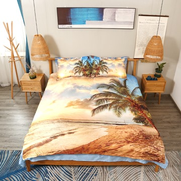 3D Scenery Bedding Palm Tree and Golden Beach Seaside Print 5-Piece Comforter Set Polyester