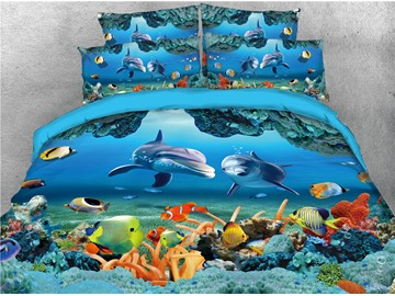 3D Sea World Dolphin and Fish Print Blue 5-Piece Comforter Set / Bedding Set Polyester
