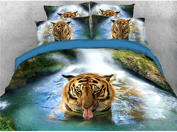 Tiger in Brook 5-Piece 3D Comforter Set Colorfast/Lightweight/Skin-friendly Zipper Bedding