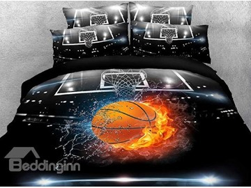 Basketball In Water And Fire 3D Printed 5-Piece Comforter Sets