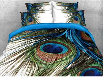 Peacock Feathers 3D Printed 5-Piece Comforter Sets