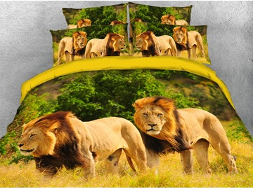 Brother Lion Animal Pattern Machine Washable Soft Lightweight Warm 3D Printed 5-Piece Comforter Sets