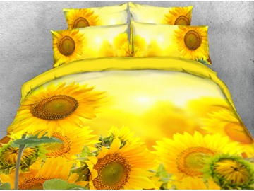 Yellow Sunflowers Floral Pattern Machine Washable Soft Lightweight Warm 3D Printed 5-Piece Comforter Sets