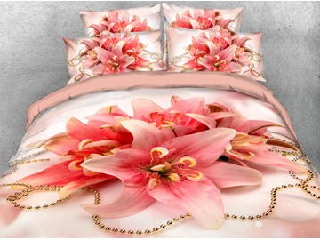 Pink Lilies Floral Pattern Machine Washable Soft Lightweight Warm 3D Printed 5-Piece Comforter Sets