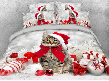 Christmas Theme Bedding Christmas Cat Lightweight Warm 3D Printed 5-Piece Comforter Sets