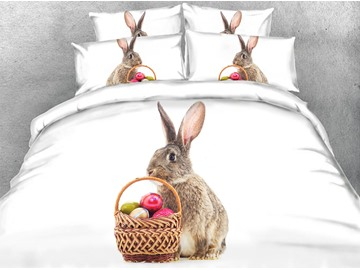 3D Rabbit Comforter Soft Lightweight Warm Machine Washable 5-Piece White Comforter Sets