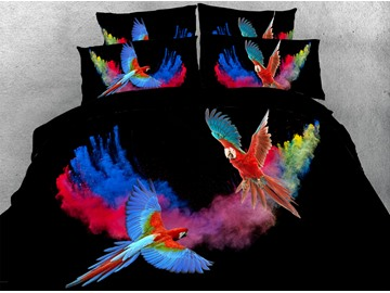 3D Parrots Comforter Soft Lightweight Machine Washable 5-Piece Warm Comforter Sets