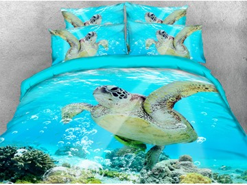 Sea Turtle 3D Animal Comforter Soft Lightweight Warm 5-Piece Comforter Sets