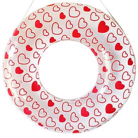 Fresh Heart Pattern Adult Swim Ring with Safety Rope