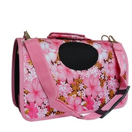 Pink Flowers Portable Dog Carriers