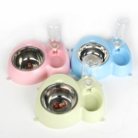 2 in 1 Water Eat Pets Drink Feeder Puppy Dog Bowl