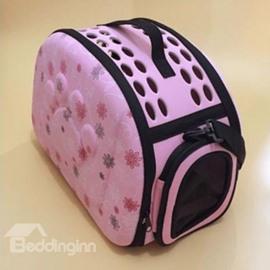 Pink Daisy Pattern Waterproof Hard Case Pet Cat DogCarrier