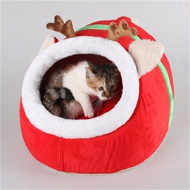 Cozy Warm Short Washable Detachable SantaDeer Elk Shape Dog Bed House