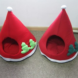 Cute Christmas Red Pet Puppy Doghouse Warm Red