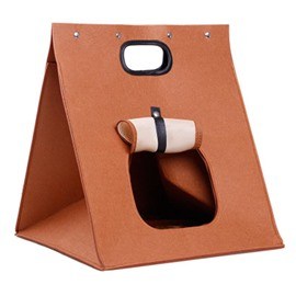Washable Folded Brown for Summer Mesh Cat Puppy House