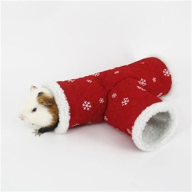 Guinea Pig T Shape Tunnel Play Toy Winter Warm Hamster Nest Small Animals
