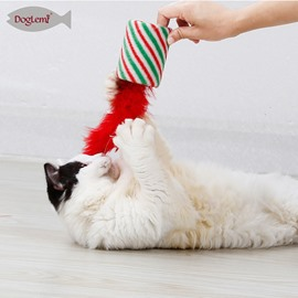 Christmas Cat Toy Natural Feather Bell Funny Cat Supplies