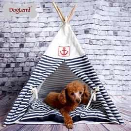 Detachable Navy Striped Wooden Dog House Pet Tent