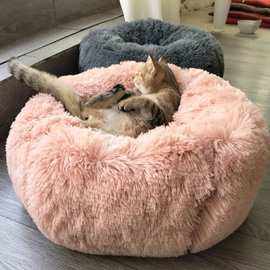 Luxury Fluffy Dog & Cat Bed Plush Donut Cuddler Round Pet Bed
