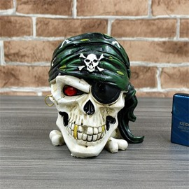 Haunting One-Eye Skull Head Ashtray Halloween Gift
