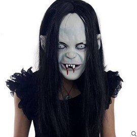Horrible Black Hair Ghost Design Halloween face shield