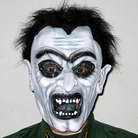 Fearful Black Hair Zombie Design Halloween face shield