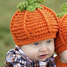 Newborn Unisex Baby Boys Girls Pumpkin Knit Crochet Hats for Halloween