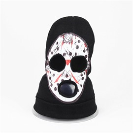 Halloween Skull Cosplay Horror face shield Knit Hat