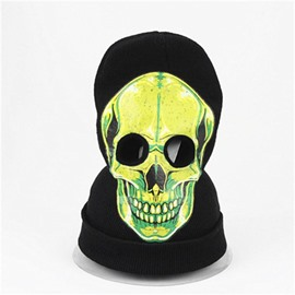 Halloween Skull Cosplay Horror face shield Knit Hat Green