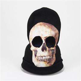 Halloween Skull Cosplay Horror Mask Knit Hat White
