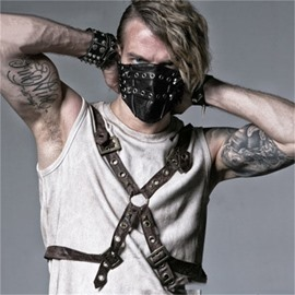 Rock Rivet Punk Leathe for Men Cool face shield