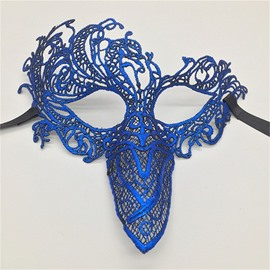 Peacock Tail Bird Beak Hollow Lace Halloween Masquerade Mask Blue