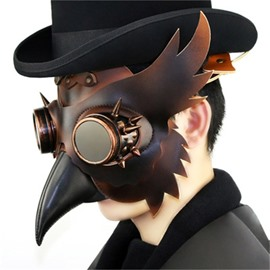 Long Nose Bird Mouth Beak Faux Leather Steampunk Halloween Costume Mask