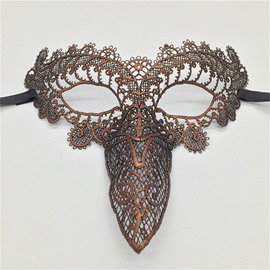 Bird Beak Hollow Lace Halloween Masquerade Mask Golden