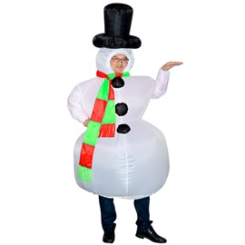 Hilarious White Snowman and Black Top Hat Inflatable Costume