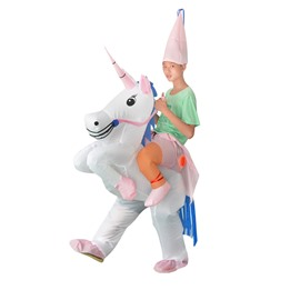 Funny White Unicorn Ride On Inflatable Costume