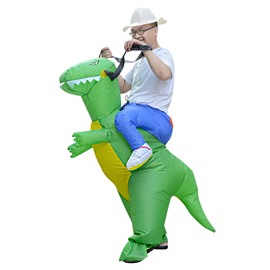 Green Dinosaur Ride on Halloween Funny Inflatable Costume for Adult