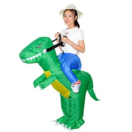 Green Tyrannosaurus Rex Ride on Funny Halloween Party Inflatable Costume for Children