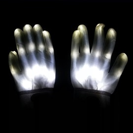 White Luminous Skeleton LED Gloves for Halloween