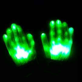 Green Light Magic Rave LED Light Finger Glowing Gloves for Halloween