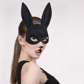Plastic Rabbit Ears Mysterious Black face shield for Halloween Gifts