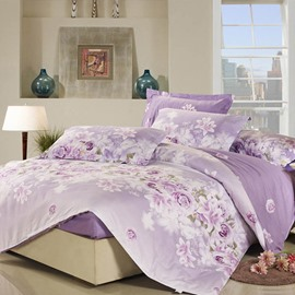 Purple Rose and Lily Pattern Polyester 4-Piece Bedding Sets